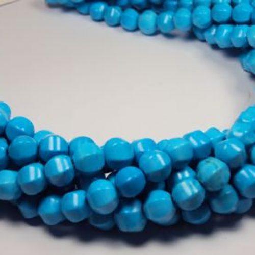 Stränge Magnesit blau facettierte Meloneform in 9 mm-0