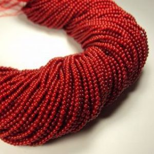 Bamboo coral red spherical shape in 2 mm-0