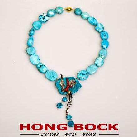 HONG BOCK-Türkis Kette blau-0