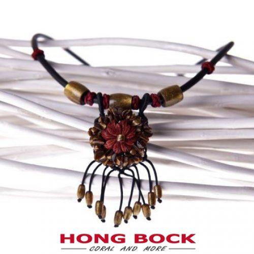 HONG BOCK-Korallen design Kette mit Leder -0