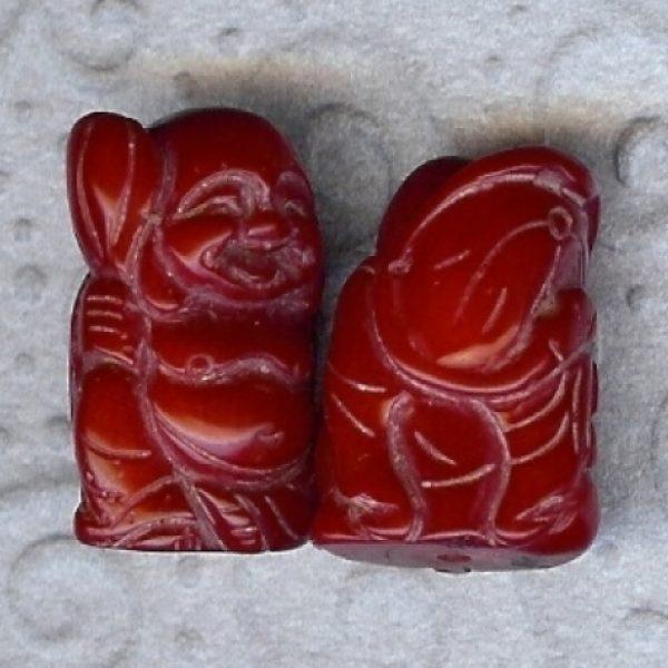 Lachbuddha Anhänger, Bambuskorallen rot-0