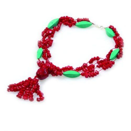 HONG BOCK-Design Korallen Kette rot und grün-0