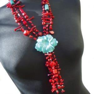 HONG BOCK-Korallen Design Kette rot-blau-0