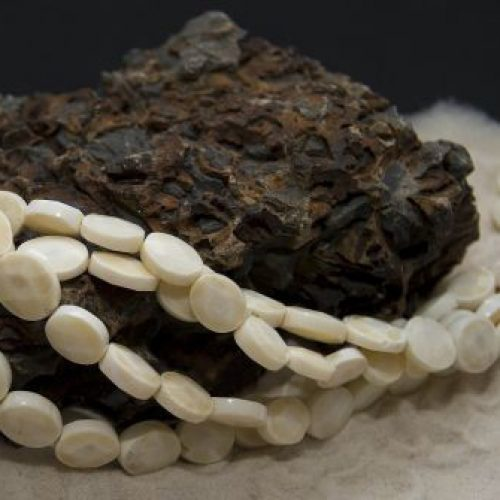 Bambuskorallen Strang weiß in 11x13mm-0