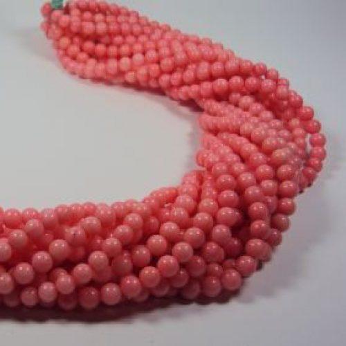 Stränge Bambuskorallen pink Kugelform in 6 mm-0