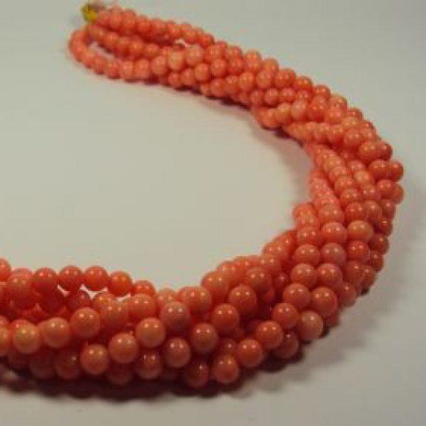 Stränge Bambuskorallen leicht pink Kugelform in 5 mm-0