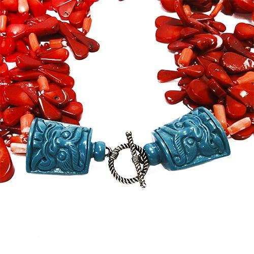 HONG BOCK-Design - Rote, 3-reihige Korallenkette mit grünen Magnesiten-1430
