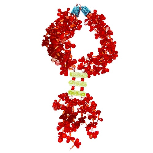 HONG BOCK-Design - Rote, 3-reihige Korallenkette mit grünen Magnesiten-1431