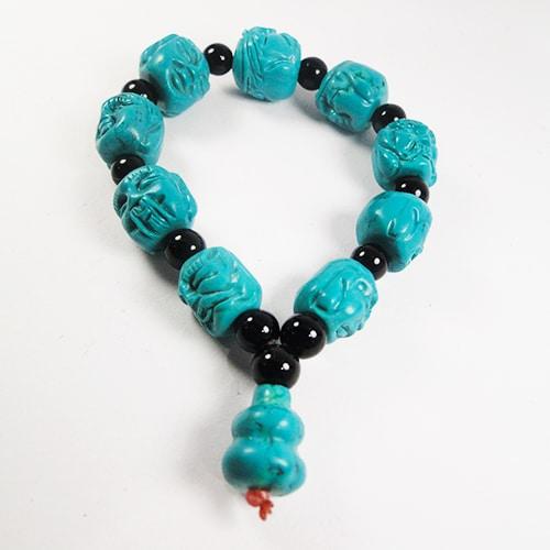 Hong Bock Buddha Hauwlit-Türkis Armband in blau-schwarz-1138