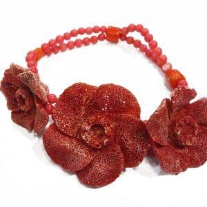 Schaumkorallen Rosen Armband rot-0