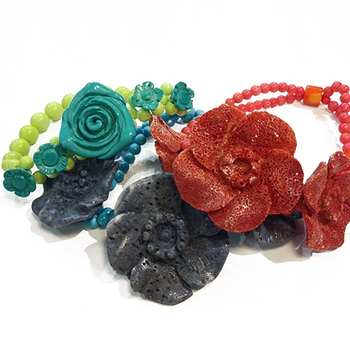 Schaumkorallen Rosen Armband rot-1538