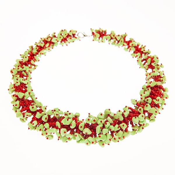 HONG BOCK-Design - Fancy Design-Korallenkette in rot-grün-0