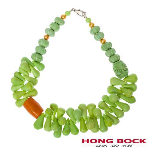 HONG BOCK- Design Kette von grüne Howlit und Orange korallen.-0