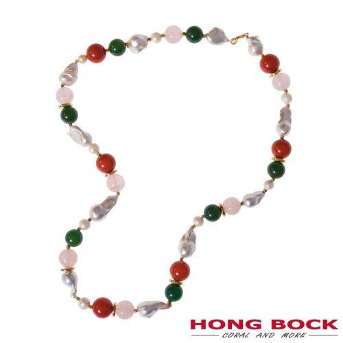 HONG BOCK-Design - Designkette aus Barockperlen, Perlen aus Korallen, Jade und Rosenquarz-0