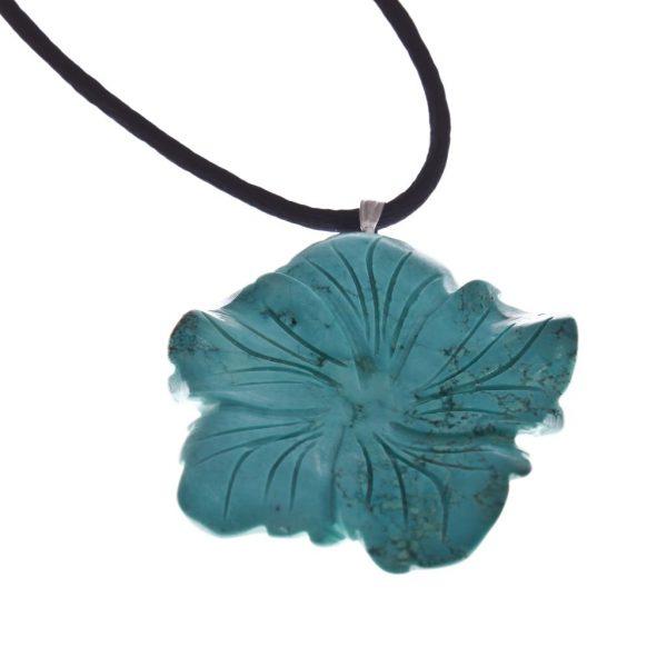 Magnesit Blumenanhänger auf Seideband.blau-0