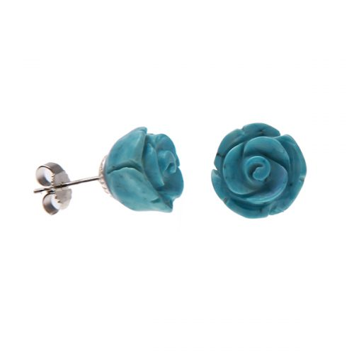 Earring silver stub rose of magnesite-0