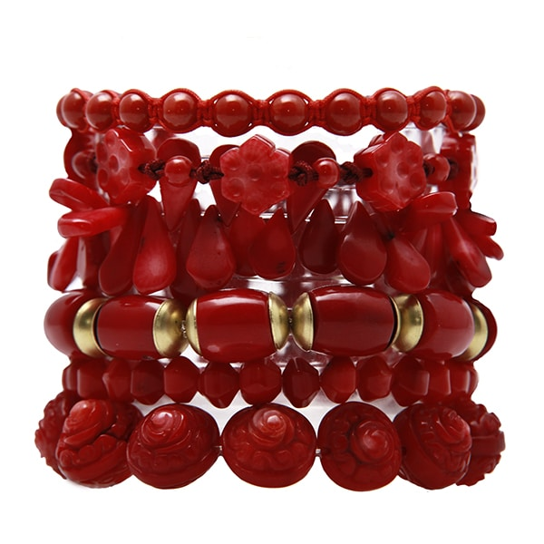 HONG BOCK-Bumbuskorallen Blumen Armband rot-478