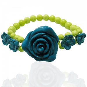 Magnesit Blumenarmband blau-grün-0