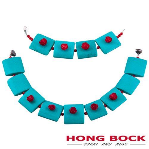 HONG BOCK- Design Kette-Magnesit Halskette mit korallen rote rosen-0