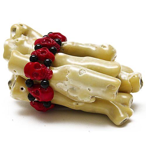 Bambuskorallen Totenkopf Armband rot-schwarz-0