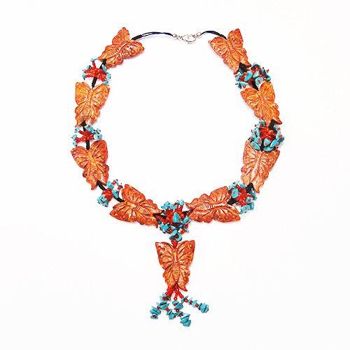 Schmetterling Kette aus Schaumkoralle rot-0