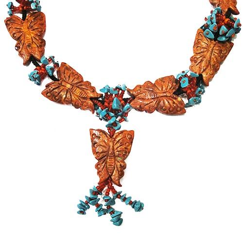 Schmetterling Kette aus Schaumkoralle rot-1313