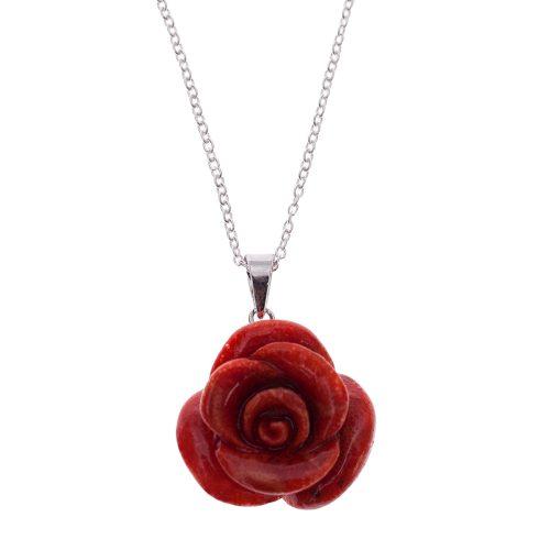 HONG BOCK-Schaumkorallen Rosen Anhänger mit Silber Kette-0