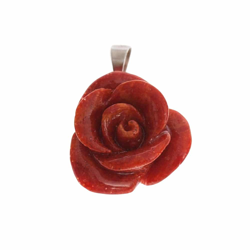 HONG BOCK-Schaumkorallen Rosen Anhänger mit Silber Kette-2170