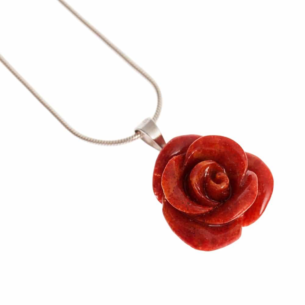 HONG BOCK-Schaumkorallen Rosen Anhänger mit Silber Kette-2169