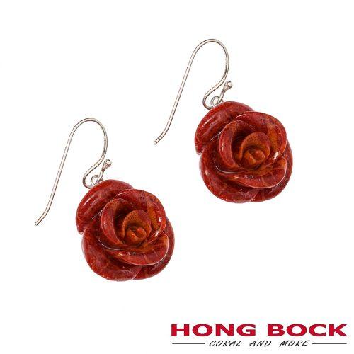 HONG BOCK-Design - Ohrhänger mit Schaumkorallen-Rosen an Silberhaken-0