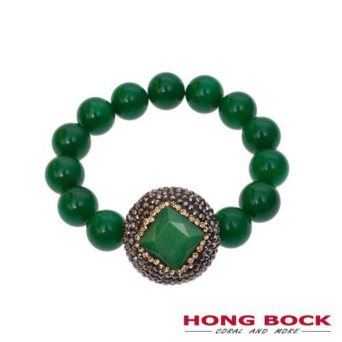 HONG BOCK- grüne strech Jadearmband in 12mm -0