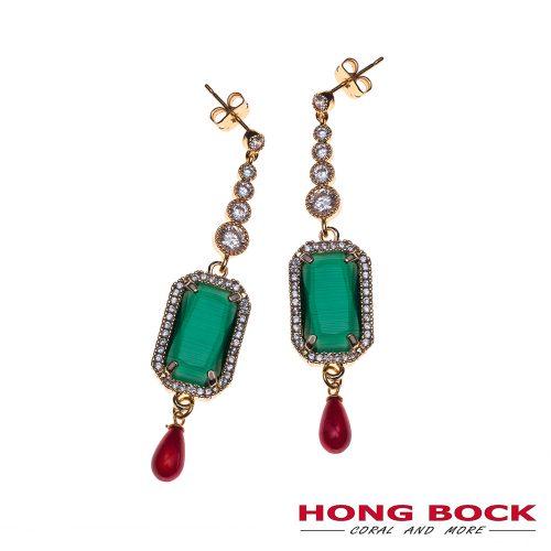 HONG BOCK- Design Ohrringe in grün und korallenrot-0