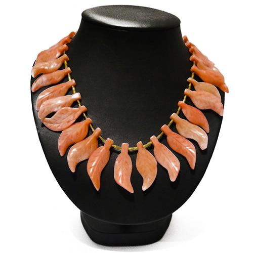 HONG BOCK-Korallen Halskette pink blätter-1379