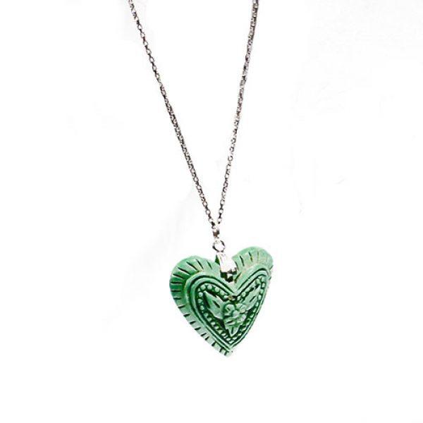 HONG BOCK-Herzanhänger LOVE mit silber Kette. grün-0