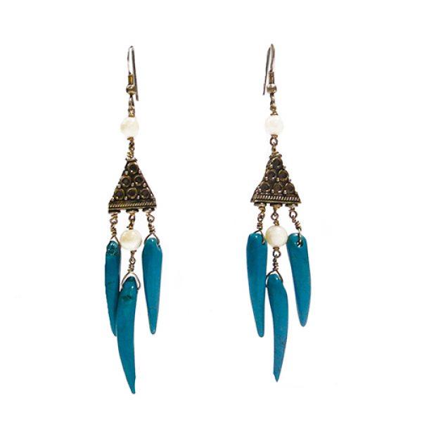 Design Ohrringe mit blaue Magensit und silber-0