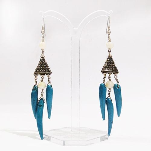 Design Ohrringe mit blaue Magensit und silber-1447