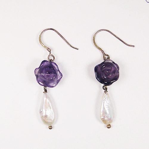 HONG BOCK-Design Ohrringe aus Amethyste Rosen und Perlen tropfen-0
