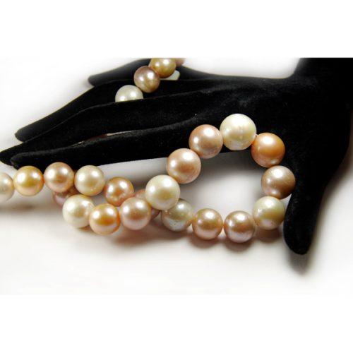 Süsswasser Perlen Strang in Mutiefarb-Kugelverlaufen-0