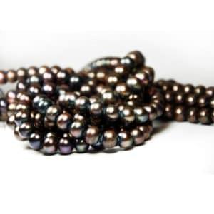 Süsswasser Perlen Strang silber grau-brauen in 10mm-0