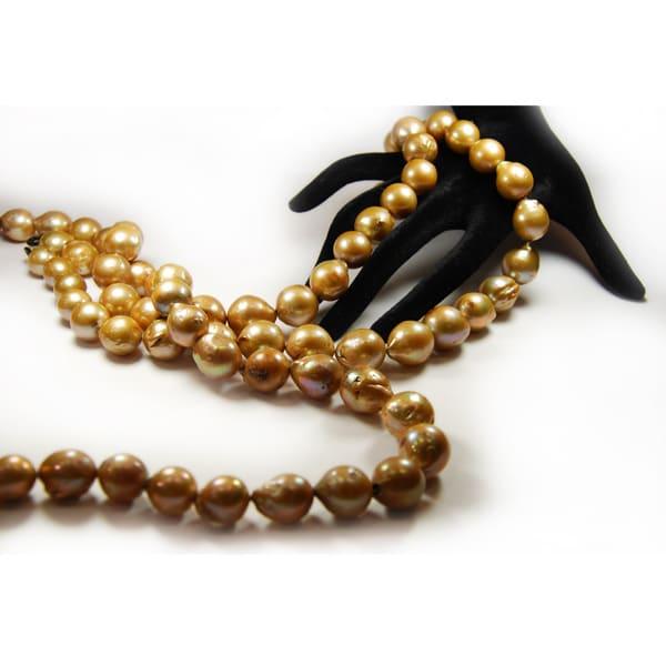 Süsswasser Perlen Barock in gold.-1785