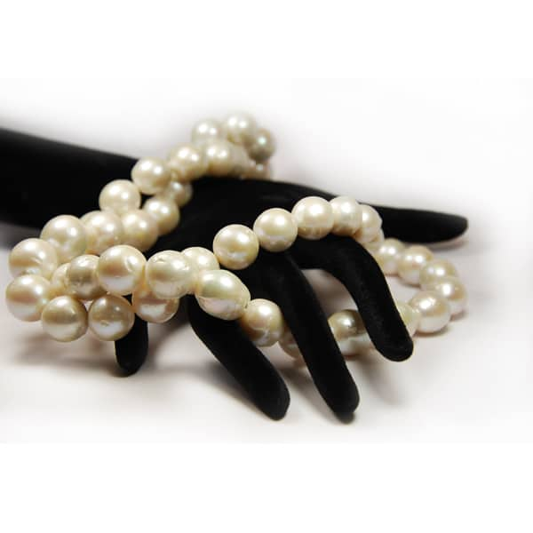 Süsswasser Perlen Strang nugget in weiß-1800