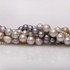 Süsswasser Perlen Strang nugget in weiß-1780