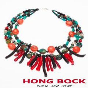 HONG BOCK-Design - 3-reihige Kette mit Korallen und Türkisen-0