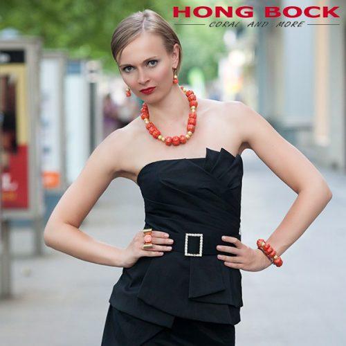 HONG BOCK-Design Kette Koralle in lacks und gold-0