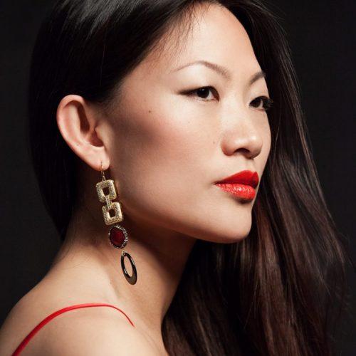 HONG BOCK-Design - Yasmin-Ohrringe aus roten Achat und schwarze Onyx-0