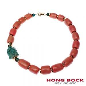 HONG BOCK-Design - (Lamia) Rosafarbene Bambuskoralle mit Buddhakopf aus Türkis-0