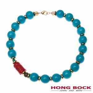 HONG BOCK-Lamia Kette türkis blau 20mm mit korallen rot -0