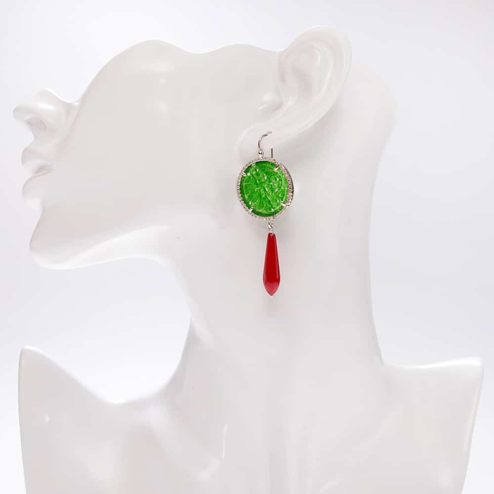 HONG BOCK-Yasmin Ohrring aus China-jade und Koralle (rot)-2481