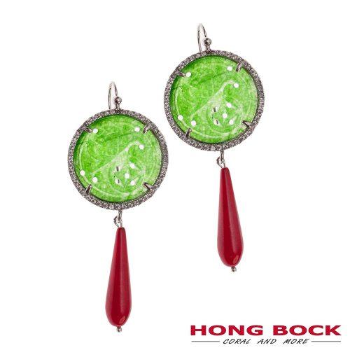 HONG BOCK-Yasmin Ohrring aus China-jade und Koralle (rot)-0