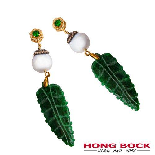 HONG BOCK-Design - Yasmin Ohrringe aus Chinesischer grüner Jade mit Barockperlen-0